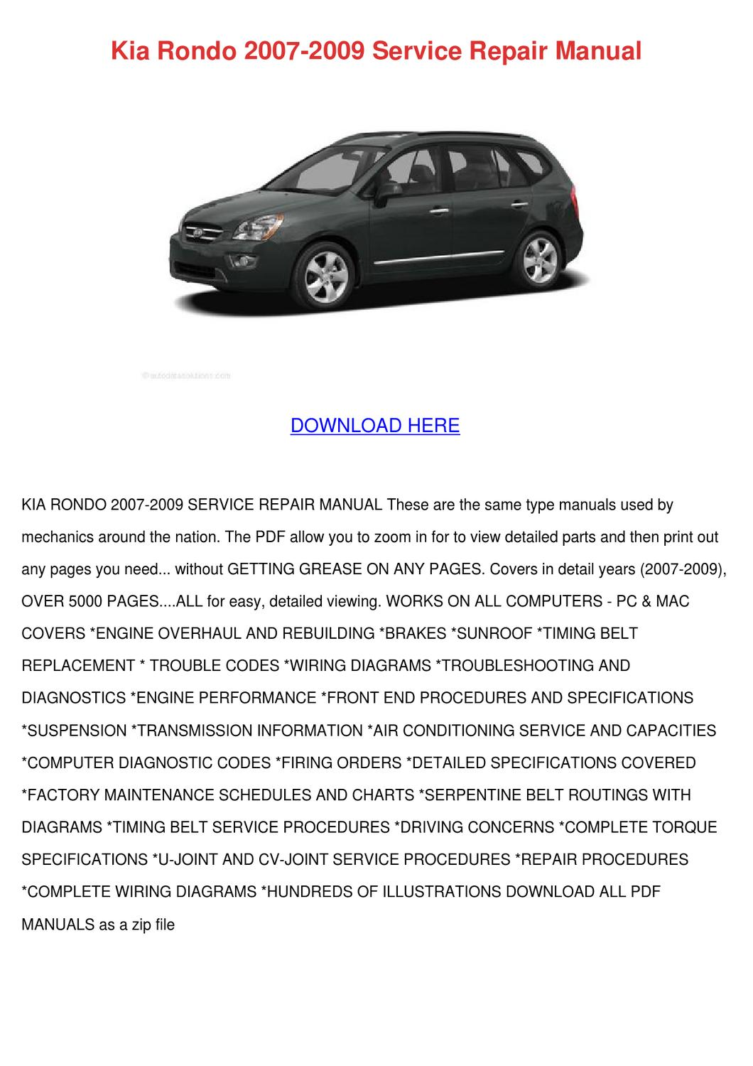 2007 kia rondo owners manual pdf